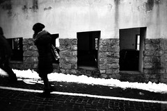 In a row (Leica M6) (stefankamert) Tags: film analog analogue grain street woman inarow voigtländer nokton 35mm window line snow kodak trix blackandwhite blackwhite noir noiretblanc bw