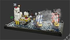 Eldorado Battle (Corvus Auriac MOCs) Tags: pirate ship sea battle fortrees lego moc afol pieces bricks diorama scene epic flag design