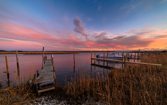 Brookhaven Sunset (djrocks66) Tags: sunset sunsets sunrise sunrises landscape landscapes waterscape oceanscape outdoors nature water bay boats boating sky clouds color wide angle rokinon 14mm nikon z6 beach marina night fishing moon ny long island brookhaven
