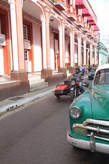 Sidecar Cruising (peterkelly) Tags: digital oldcity canon 6d northamerica cuba cubalibre gadventures pinardelrio oldcar street road motorcycle bike motorbike column pillar rider