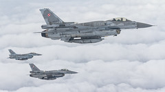 Polish F-16s. (spencer_wilmot) Tags: f16 poaf polishairforce a2a airtoair militaryaviation combataircraft grey clouds aviation aircraft airplane plane jet fighter fighterjet flying flight fightingfalcon eart europeanairtoairrefuellingtraining frisianflag