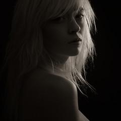 Wendigo (bcud14) Tags: woman studio portrait blackandwhite monochrome square backlight backlit lowkey dark