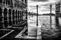 Early morning storm in Venice - Number 2 (photofitzp) Tags: bw blackandwhite italy rain reflections venice water