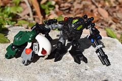 Dermis Turtle (mrjustin412) Tags: bionicle moc matoran black turtle nature stone leaves plants gun shotgun shadow
