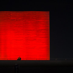 22,532 (Panda1339) Tags: 28mm red london cinematic cube southbank night streetphotography ldn nationaltheatre walking uk light square
