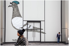 Bobble hats (AEChown) Tags: bobblehats beanie pigeon glasses mural newyork street streetart girl humour building