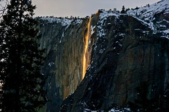I was extremely fortunate to witness a breathtaking natural phenomenon called 'Firefall,' where light from the setting sun strikes Horsetail Fall at the right angle to make it look like lava flowing down the face of El Cap... (Rachel Finney Photography) Tags: granite firefall horsetail fall lava flowing el capitan february 2019 yosemite national park california eastern sierras mountains trees snow winter season water sunset glow magical