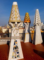 I See Faces In Chimneys (Douguerreotype) Tags: architecture city chimney barcelona geometry buildings urban gaudi spain catalunya geometric roof