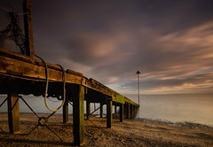 Late sunshine (daveknight1946) Tags: greatphotographers essex southend jetty water longexposure fujixt3 weed seaweed rope sand beach clouds