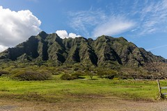 Koolau Mountains (Karen_Chappell) Tags: travel oahu hawaii usa nature green mountains blue sky landscape scenery scenic canonef24105mmf4lisusm volcano trees
