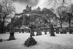 Edinburgh Castle from St Cuthberts Graveyard (Infrared). (Photography Revamp) Tags: nikon d750 edinburgh edinburghcastle castle ir infrared blackandwhite bw architecture 1635mm
