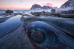 Viking Eye (Hilton Chen) Tags: norway lofoten winter sunrise uttakliev beach eye rocks turquoise blue water snow ocean landscapephotography