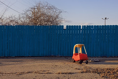 Turquoise Blue (jkotrub) Tags: blue goldenhour golden afternoon sunset light sky fence turquoise turquoiseblue play toy plastic abandoned alone empty color colorful coloring2019 car cozycoupe adventure beauty bluesky telephonepole pole playground colour