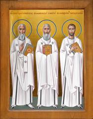 Образ трех святителей: Афанасия Великого, Григория Нисского и Амвросия Медиоланского (в технике энкаустики)