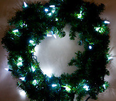 Lighted Wreath (J.R. Rondeau) Tags: rondeau ontario windsor xmas christmas christmaslights christmasdecorations friends family colours colors canoneos tamron2875 photoshopeleements10
