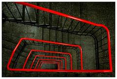 Red line (frodul) Tags: architektur detailaufnahme gebäude geländer gestaltung innenansicht konstruktion linie parkhaus stair staircase stairrail stairway step stufe treppe treppenhaus hannover rot