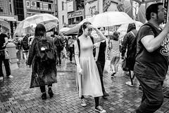 Osaka - Dotonbori (-dow-) Tags: 大阪 日本 giappone japan osaka dotonbori umbrella rain pioggia ombrello monochrome fujifilm x70
