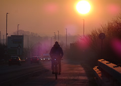 Keeping hands warm (stevenbrandist) Tags: commute commuting bicycle cycling cyclist cyclepath sun sunrise loughborough leicestershire nohanded cold winter