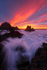Palos Rojas (Chris Ewen Crosby) Tags: sunset vibrant colorful moody sky seascape landscape coast coastline california palos verdes los angeles rocks shore motion water sea ocean waves red orange dusk dawn sunrise brilliant background