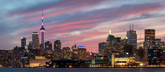 City in Colour (Brady Baker) Tags: toronto canada ontario city skyline cityscape urban night sunset dusk color cloud sky dramatic lights panorama wide towers buildings downtown 6ix financial district architecture waterfront lake harbor