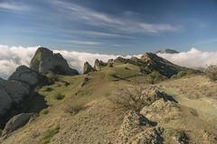 On the plateau. (Ilya Khuroshvili) Tags: cimmeria outdoor mountains rocks cliff sky outdoors shadow dry landscape nobody colors autumn karadag valley plateau