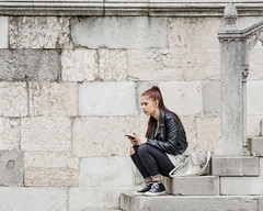 Comunicating (miroslav0108) Tags: person streetportrait stairs architecture