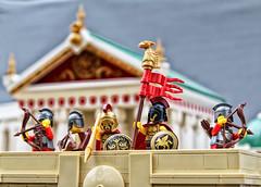 """Hold the standard high!"" (Mark of Falworth) Tags: lego creation moc scene temple battle siege wall architecture archer hoplite greek roman war warrior brick"
