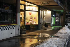 Neill's Flowers and Gifts (Curtis Gregory Perry) Tags: pullman washington flower shop neills night longexposure snow ice sidewalk winter storefront business downtown nikon d810