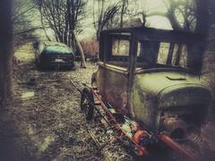 trading spaces...(HTT) (BillsExplorations) Tags: truckthursday modelt old vintage car abandonedcar ruraldecay forgotten abandonedillinois htt abandonedfarm ford oldcar oldtruck snapseed