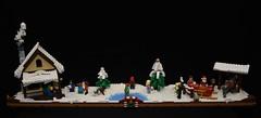 Christmas display (Philosophical Bricks) Tags: lego christmas iceskating hotcoco snowman sleigh reindeer santa holiday snow moc smoke snowball