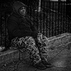 """""""Each Day He Presents To Passersby The Opportunity To Declare What Kind Of Person They Are"""", George Washington University Metro Station, Foggy Bottom, Washington, DC (Gerald L. Campbell) Tags: streetphotography street squareformat spirituality spiritualindifference socialdocumentary solidarity socialatomism socialjustice socialcommentary alienation aloneness bw blackwhite blackmale citylife community canonsx60hs dc digital documentary documentaryphotography dignity freedom homelessness homeless homelessnessinamerica indifference injustice inequality portraitphotography portrait urbanphotography urban unitedstates washingtondc yearning yeswecan"""