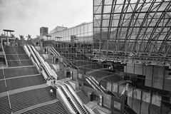 Kyoto station (Japan) (fnks) Tags: asia japan country kyoto station stairs air clouds holiday escalator trains city geisha roof steel