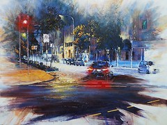 Downtown Glimpse - Acrylic on canvas (MikeC4503) Tags: brisbane art artwork acrylic street streetscape streetscene night painting