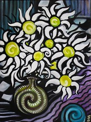 Flowers for Mother (Skyler Brown Art) Tags: acrylic art artwork canvas checker colorful flower flowers nature paint pretty psychedelic surreal swirl vase valencia california usa
