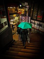 Follow the green umbrella (tokyobogue) Tags: tokyo japan shibuya night nexus6p nexus street streetphotography city rain reflections colours urban green umbrella steps stairs