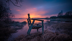 Waiting for the weekend... (jarnasen) Tags: fuji fujinon xt20 1024mm xf1024mmf4 tripod morning mood dawn sunrise sweden sverige scandinavia sky sun nordiclandscape landscape landskap lake östergötland outdoor nature chair reed geotag geo gallery copyright järnåsen jarnasen view perspective color composition