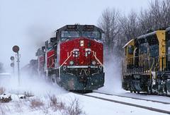 Snowy meet at Tehachapi? (Moffat Road) Tags: southernpacific sp oretrain wisconsincentral wc santafe sd45 c449w dash9 5400 8113 46 snow meet duplainville wisconsin train locomotive railroad wi