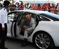 PoW gets out car red carpet CJ3ed (Cayman Islands Government Information Services) Tags: royalarrival27march cayman royal visit charles prince wales camilla duchess cornwall owen roberts international airport united kingdom great britain