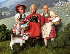 Helping hands (Foxy Belle) Tags: doll caco miniature mountain goat outside diorama plants bavarian german traditional folk clothing costume green red white family children schleich kid bell 118