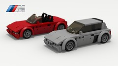 BMW M Coupe (with Z3) (LegoGuyTom) Tags: bmw z3 classic vintage roadster speed speedster sport sports convertible 2door 1990s 2000s german germany european europe lego legos ldd digital designer dropbox download city car cars pov povray lxf m coupe m3