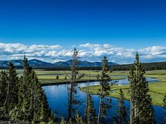 Yellowstone NP - Wyoming / USA (Udo S) Tags: yellowstonenationalpark river fluss berge mountains bäume trees landschaft landscape wiesen me meadows grün gree sky himmel clouds wolken