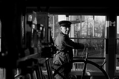 'The Signalman' (Andrew@OxfordPart2) Tags: radstock north signal box signalman didcot railway centre great western natural light environmental portrait timeline events absoluteblackandwhite