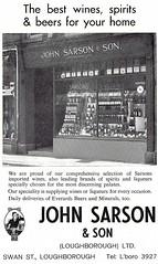 1970 ADVERT - JOHN SARSON AND SON WINES AND SPIRITS - SWAN STREET LOUGHBOROUGH (Midlands Vehicle Photographer.) Tags: 1970 advert john sarson and son wines spirits swan street loughborough