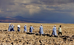 Nuns in Atacama Desert Chile (Alexander H.M. Cascone [insta @cascones]) Tags: south america southamerica chile latinoamerica san pedro sanpedro sanpedrodeatacama atacama desert nature travel nuns religion walking journey clouds sky alien unusual stormy blue monja