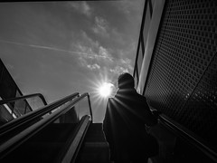 Plato's Cave (muntsa-joan-BW) Tags: blackandwhite bw bnw street streetphoto streetphotography light clouds calle sun sabadell catalonia olympus monochrome monocromo solitude solitud sombras shadows subway