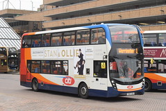 SE 10881 @ Peterborough Queensgate bus station (ianjpoole) Tags: stagecoach east alexander dennis enviro 400mmc yx67vdv 10881 working route 1 ferryview orton wistow three horseshoes werrington