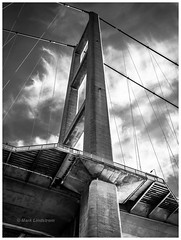 Bridge Tower (Mark Lindstrom) Tags: humberbridge northbank sunrise bw blackandwhite monochrome architecture olympusem1mk2 panasonicleica818 eastyorkshire micro four thirds landscape