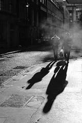 Soho. ([Richard Ford]) Tags: shadowphotography shadow steam winter people city urban bw streetphoto streetphotographer streetphotography fog street fujifilm fuji acros light shadows mono blackandwhite london