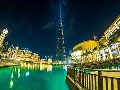 Burj Khalifa and Dubai Fountains (Szücs Balázs) Tags: dubai mft fisheye aroundtheworld city cityscape emirates u43 dubaifountain uae burjkhalifa m43 tallestbuildingoftheworld em1mk1 balinov samyang75mmf35mft olympus dubaimall travel