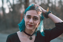 Alice (Michael Xyrie) Tags: portrait people girl adult woman bluehair blue grain indie cinematic aesthetic colors bokeh depthoffield winter outside outdoor park